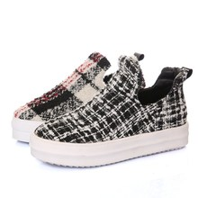 round toe genuine leather Plaid woman casual shoes spring flats Slip-On red  black