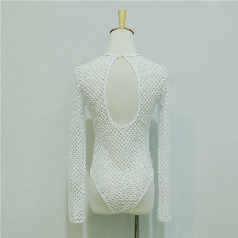 New Mesh Perspective Hollow Out Sexy Bodysuit Femal Grid Long Sleeve O-neck Backless Body Sculpting Girls Cool Beach Jumpsuits