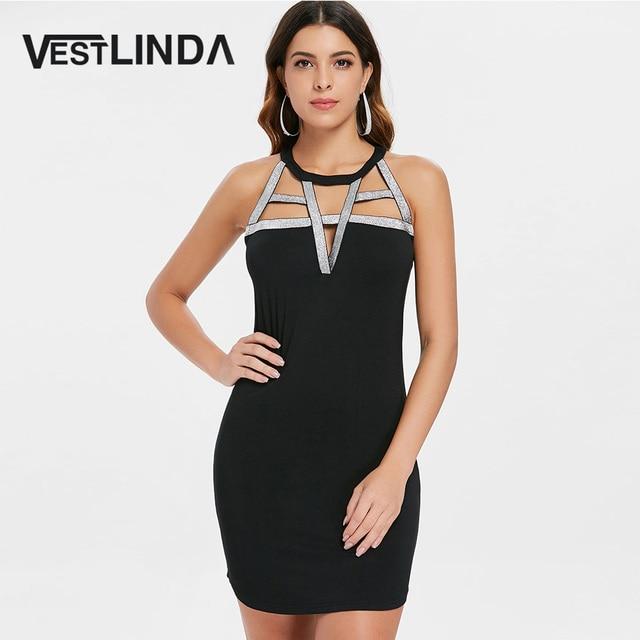 VESTLINDA Cut Out Open Back Sleeveless Fitted Shiny Strappy Bodycon Dress  Summer 2018 Women Club Sexy Dress Black Mini Vestidos 3c7103a1c