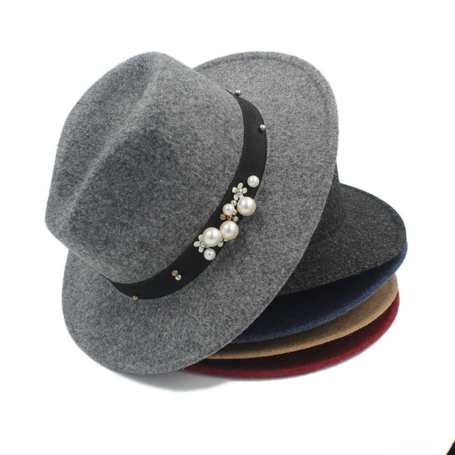 f85a9024c88 Fashio 100% Wool Men s Women s Winter Autumn Fedora Hat For Elegant Laday  Wide Brim Sombreros Jazz Hat For Gentleman Top Hat 20