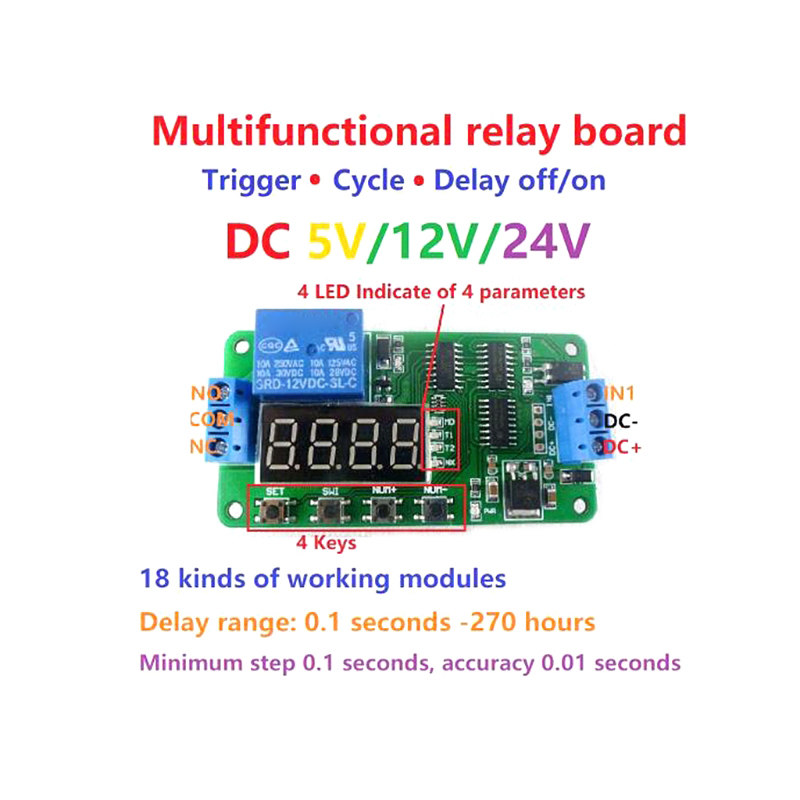 New Delay Relay DC 5/12/24V Multifunction Delay Relay Timer Relay Switch Turn on/off PLC Module hot dc 12v relay multifunction self lock relay plc cycle timer module delay time switch