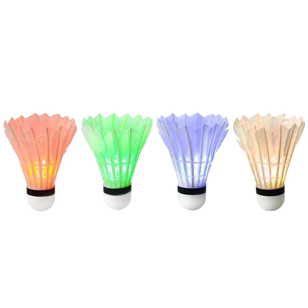 Dark Night Glow Badminton Shuttlecock Birdies Lightning For Outdoor & Indoor Sports Activities (4 pack)