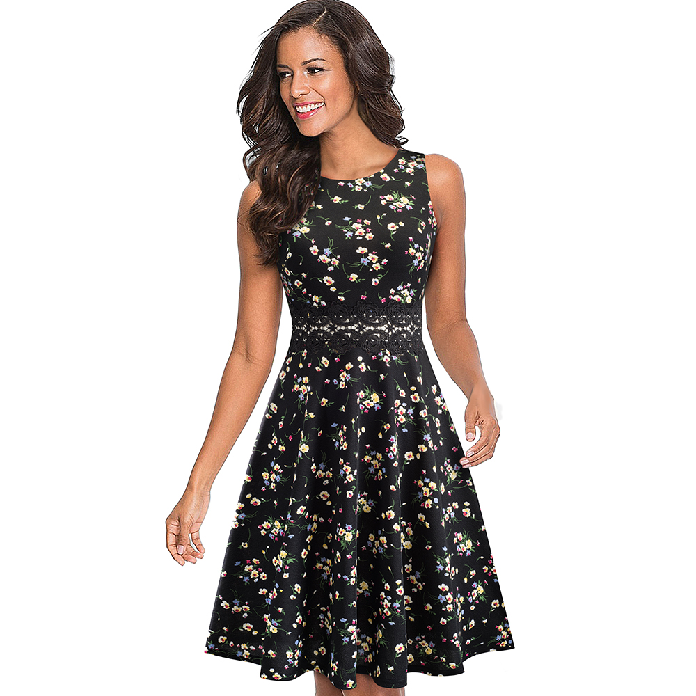 Nice-forever Vintage Elegant Embroidery Floral Lace Patchwork vestidos A-Line Pinup Business Women Party Flare Swing Dress A079 78