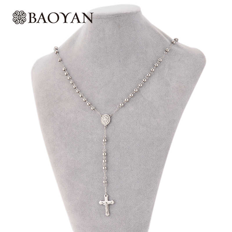 316L Stainless Steel Rosario Necklaces & Pendants For Women Bead Silver Cross Long  Women Pendant  olar Feminino A5