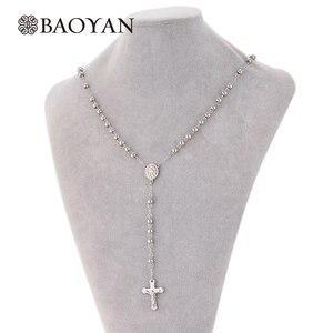 316L нержавеющая сталь Rosario ожерелья и подвески для женщин из бисера Серебряный крест длинные женские подвески olar Feminino A5