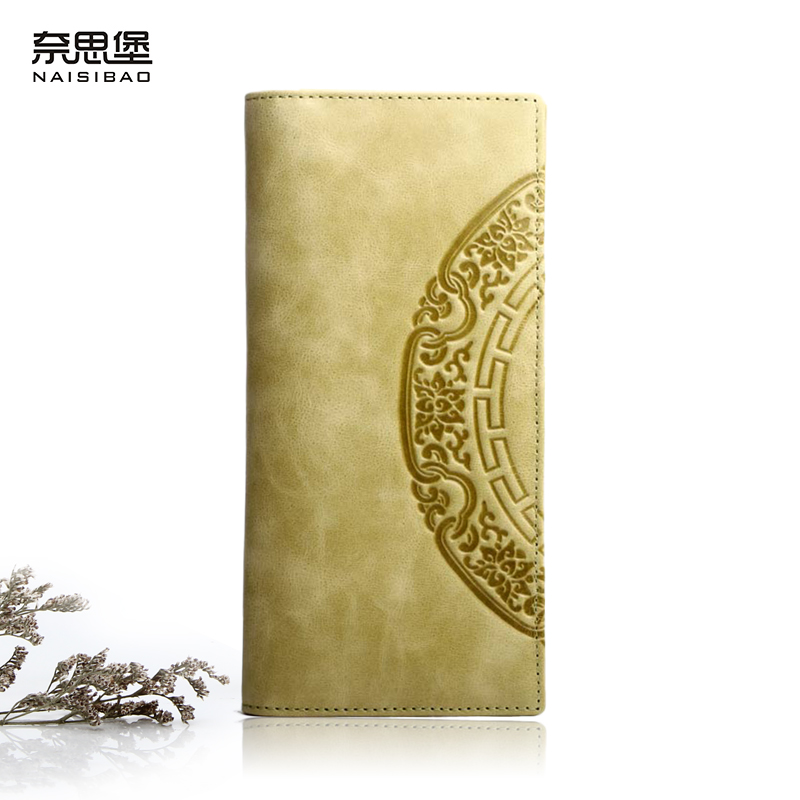 NAISIBAO Genuine Leather Folds Women Wallet Luxury Purse Chinese Style Clutch Bag Designer Long Printing Cow Leather Wallets naisibao 2017 luxury genuine leather women long wallet brand purse ladies clutch vintage designer printing wallets chinese style