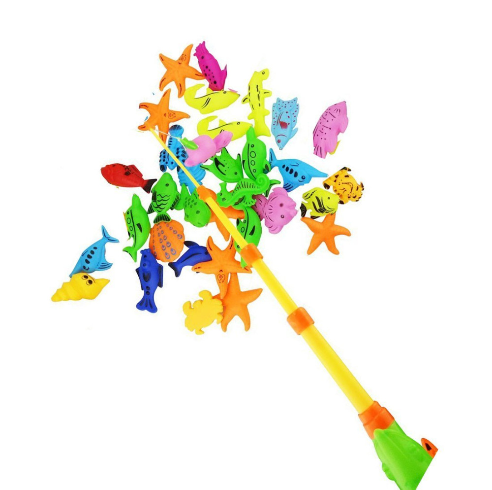 Kids Baby gift Toddler Magnetic Fishing Pole Tools Bath Toys Game 44CM Medium ,1Pole &1 Fish ,Color vary ,Shipped Randomly