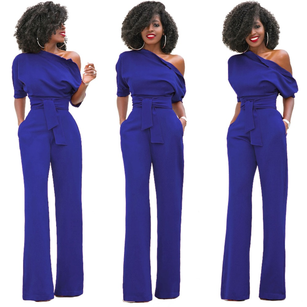 6b8f428e7 Jumpsuits Rompers Women Sexy 2017 Summer Autumn Classic pure color inclined  wide legged pants conjoined at the collar buttons-in Jumpsuits from Women s  ...
