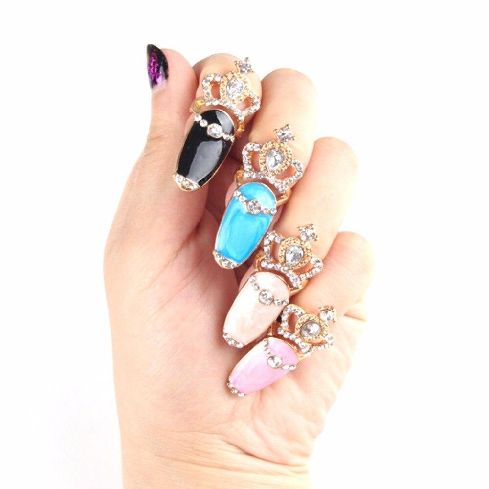Жирная свинья Для женщин эмаль пальца Кольца Корона со стразами выше  костяшки пальцев женские Дизайн ногтей кольцо купить на AliExpress 388faa47444