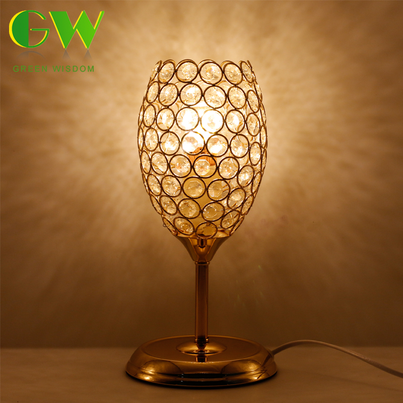 European Crystal Table Lamp E27 Creative Wine Glasses LED Desk Table Lamp For Bedroom Living Room Decoration creative wine bottle lamp usb rechargeable pouring wine led night light table desk lamp gift diy home decoration party lights
