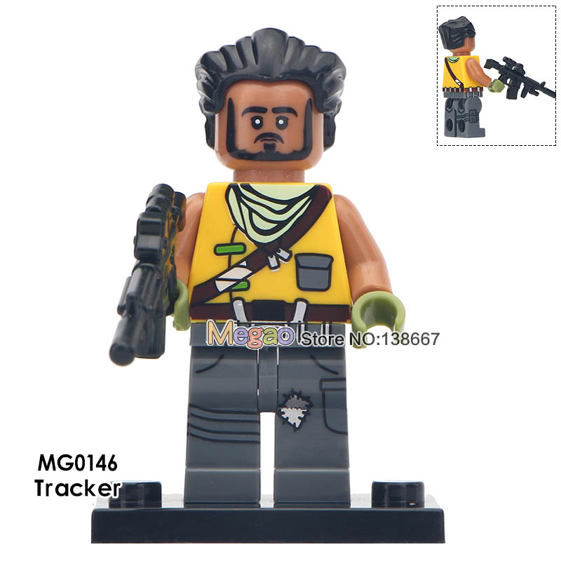 50 pcs lot Tracker With Black Weapon Special Solider Battle Royale Action Raven Exploer Building Blocks