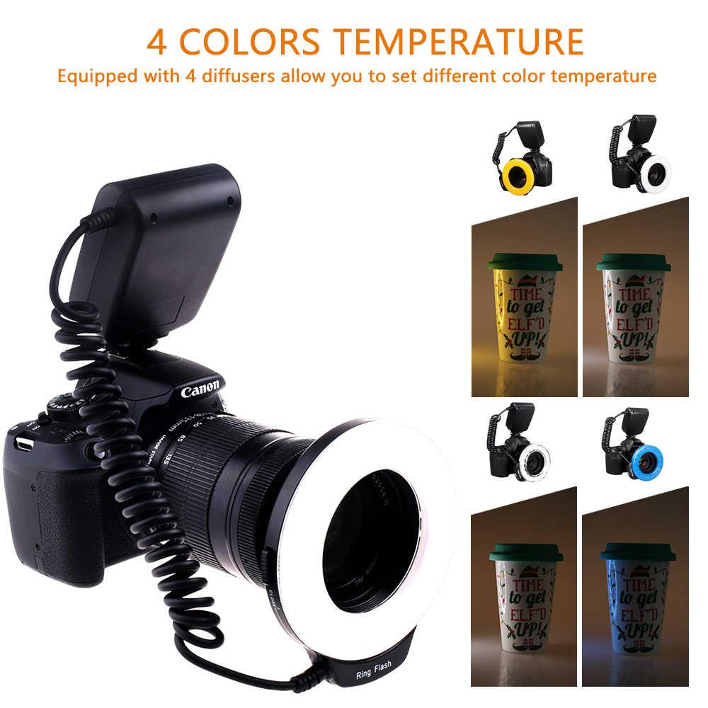 Travor RF-550D LED מאקרו טבעת פלאש אור עם 8 מתאם טבעת עבור Nikon Canon Pentax אולימפוס Panasonic מצלמה כמו FC100 טבעת פלאש