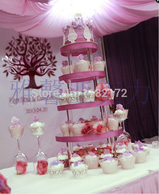 YAXIN 5 Tier Round High Quality Acrylic Wedding Cupcake Stand Birthday Cake