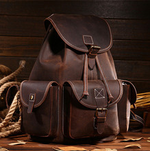 KUNDUI 100% Real genuine leather backpacks bags for women big capacity Exquisite Crafts Crazy horse girl Vintage Top grade bag