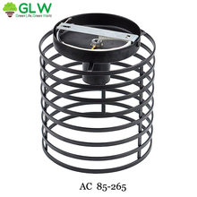 GLW Semi-Flush Mount Ce Hallway Indoor Iron Art Wall Lamp Cage Vintage Corridor Retro Loft Sconce Industrial Home(China)