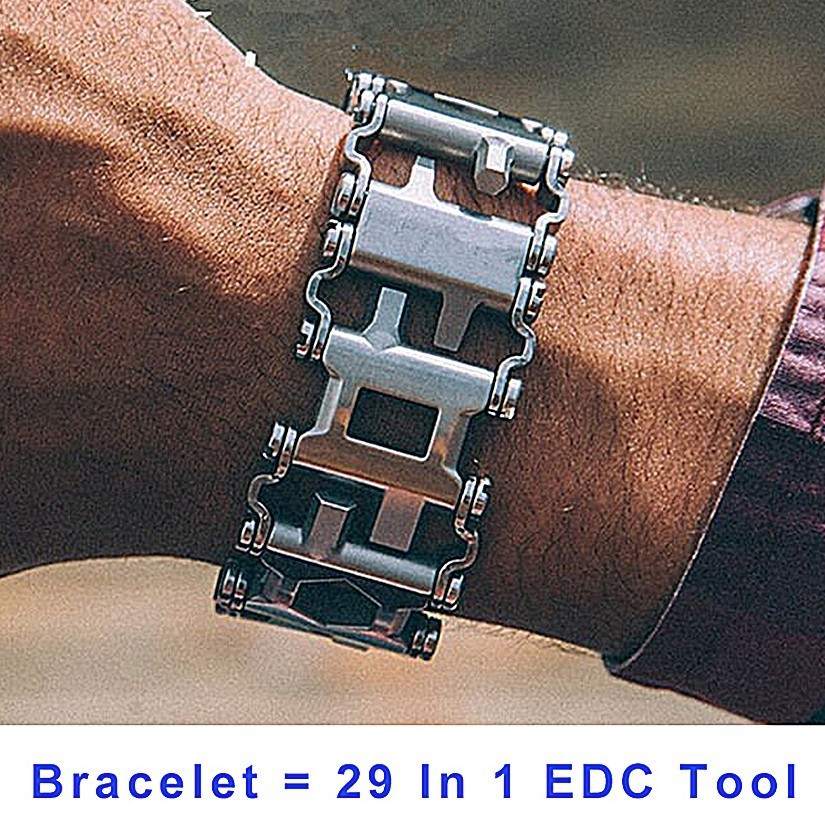 29 In 1 Multi-Function Hiking Camping Survival Outdoor EDC Tools Men & Women Bracelets Stainless Steel Bracelet Link Design survival nylon bracelet brown