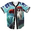Gato gruñón Mermaid Jersey overshirt LINDO GATITO 3d imprimir Streetwear Hip Hop con Un Solo Pecho camisa del béisbol de LOS HOMBRES