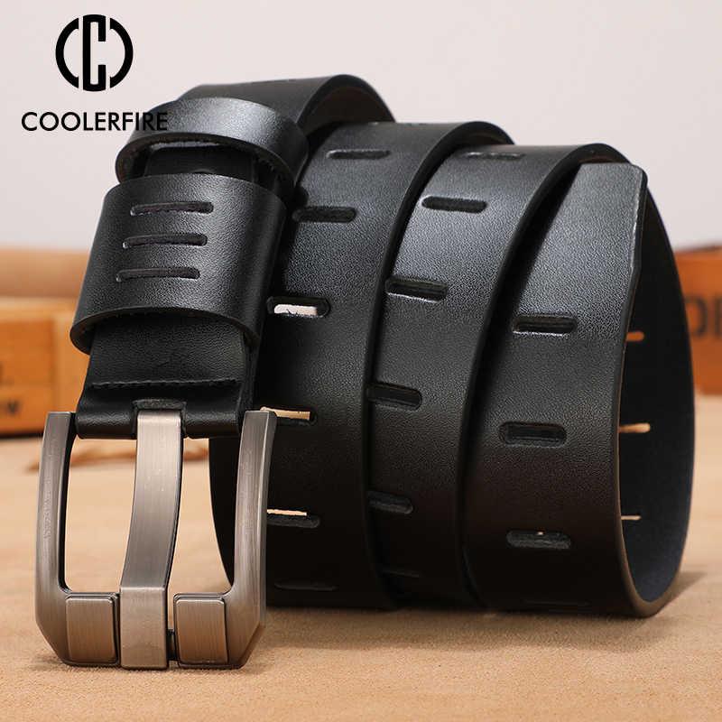 Rindsleder echtes leder gürtel für männer marke männlichen pin schnalle jeans cowboy Herren Gürtel Luxus Designer Hohe Qualität Leder gürtel männer