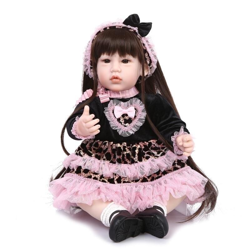 20 iinch Silicone Reborn poupées faites à la main DOLLMAI adorable longhair princesse playmate enfants cadeau d'anniversaire cadeaux de noël à vendre