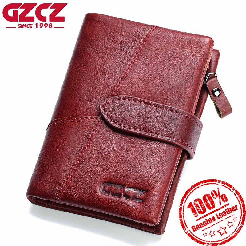 GZCZ Women Wallet 2018 Genuine Leather Short Purses Coin Purse Female Small Portomonee Rfid Walet Lady Perse For Girls Money Bag kavis genuine leather long wallet men coin purse male clutch walet portomonee rfid portfolio fashion money bag handy and perse