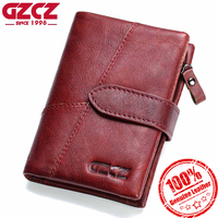 GZCZ Women Wallet 2018 Genuine Leather Short Purses Coin Purse Female Small Portomonee Rfid Walet Lady Perse For Girls Money Bag