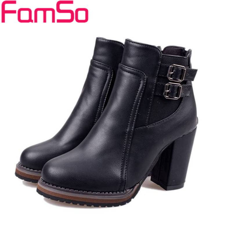 Free shipping 2016 New Sexy font b Women b font Spring Autumn Ankle Boots Buckle High