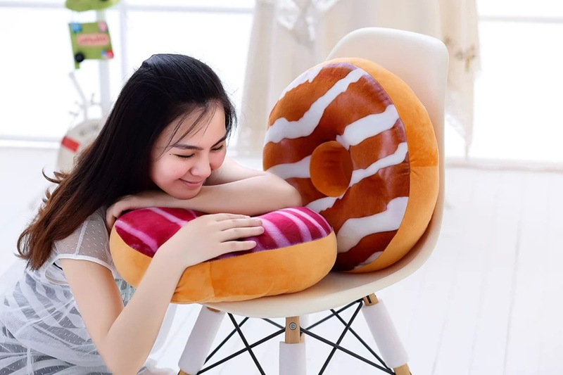 40cm Funny Chocolate Donut Sofa Seat Cushion Christmas Donuts Pillow Xmas Kid Present Toy PP Cotton Filling Hand Rests Car Mats in Cushion from Home Garden