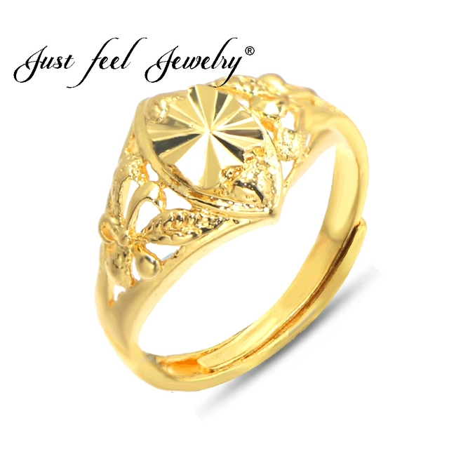 Just Feel Br Gold Color Copper Engagement Rings For Women Flowers Wedding Jewelry Ethiopian Arab
