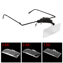 Eyelash Extension Magnifying Glasses Hands Free & Wearing Replaceable Lens Magnifier Optical Lens Tool with LED Light,3 Lenses mg81001 h two way regulation head wearing magnifier w 2 led light black white 3 x aaa