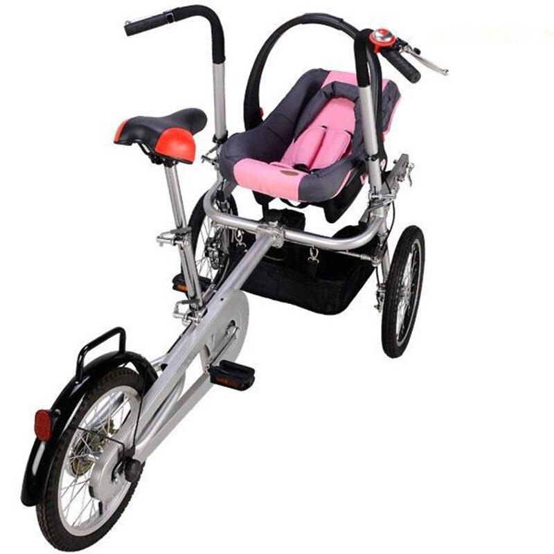 Mère et bébé vélo poussette NewboreTricycle poussette enfants vélo pliant poussette bébés landau poussette 3 roues avec siège de voiture rouge
