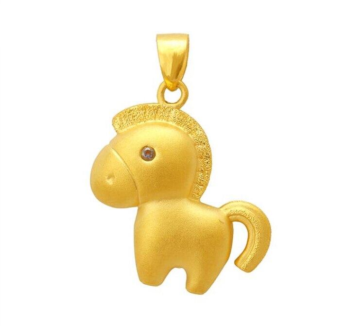 Nouveau Style pendentif en or jaune 24 k 3D joli pendentif cheval zodiaque
