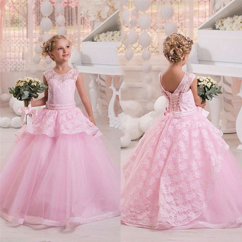 Princess Custom Flower Girl Dresses Lace Kids Christmas Evening Dress Ball Gown Pageant Dress 2017 First Holy Communion Dresses lovely new puffy flower girl dresses beaded overskirts floor length first communion dress pageant birthday gown 2017 custom new