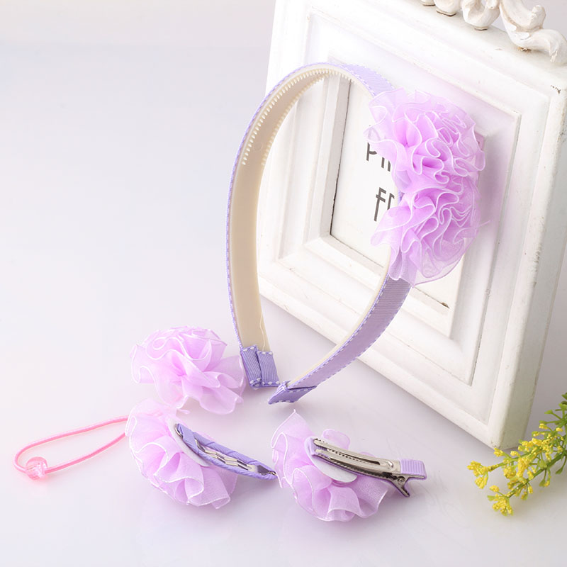 M MISM 1set=4pcs Flower Set Hairpin Children Headdress Elastic Headband Princess Sweet Flora Scrunchy Hair Band Hair Accessories  2pcs 1lot little ponys princess braid wig hair clips hairpin headdress party hairgrips cosplay hair accessories headband