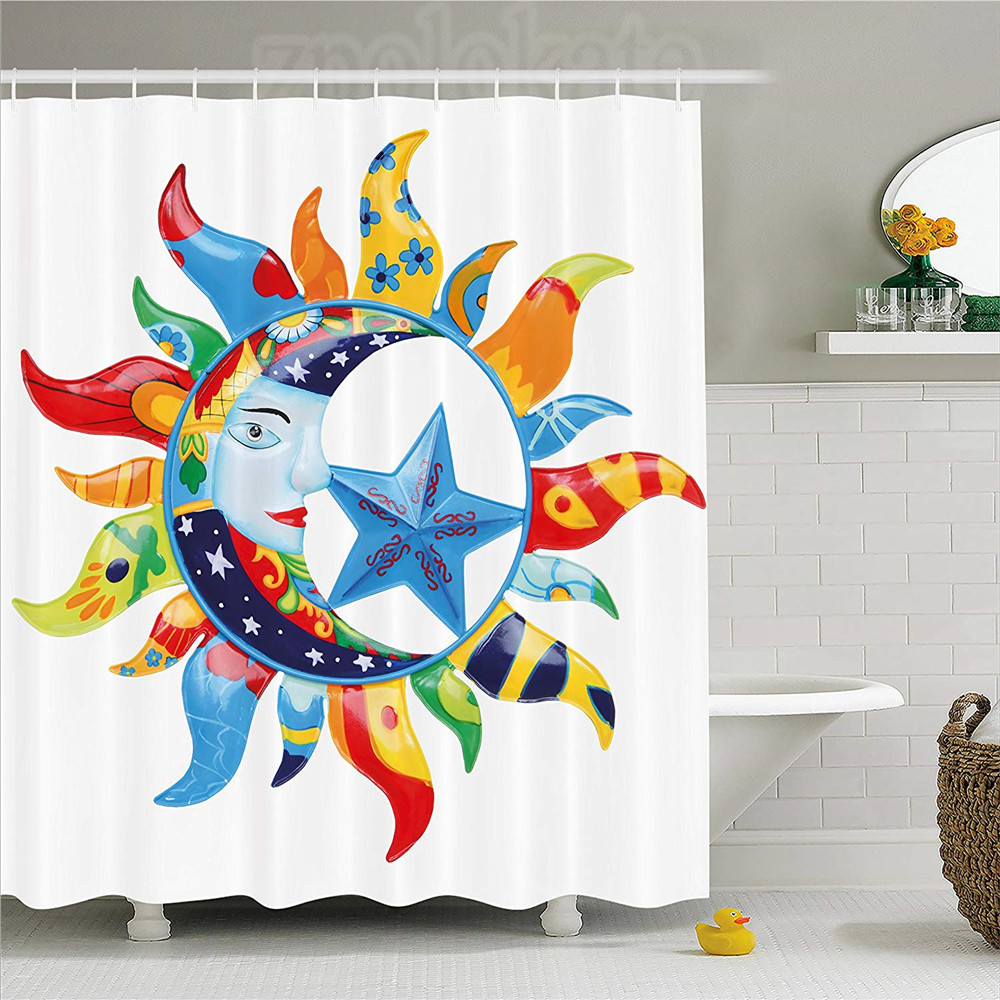 Bathroom Products Hearty Sun And Moon Shower Curtain Colorful Artistic Display Sun With Flowers Summer Motifs Stars Crescent Moon Fabric Bathroom Decor Diversified Latest Designs