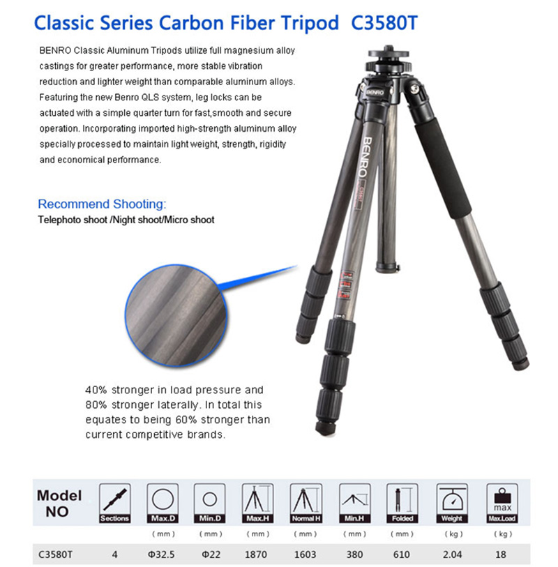 BENRO C3580T Carbon Fiber Tripod Leg Universal Support Tripods Mini Camera 4 Section For Photography Professional Tripod in Tripods from Consumer Electronics