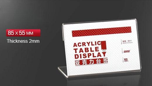 85x55mm 50pcs tag ticket card display stand acrylic desktop paper