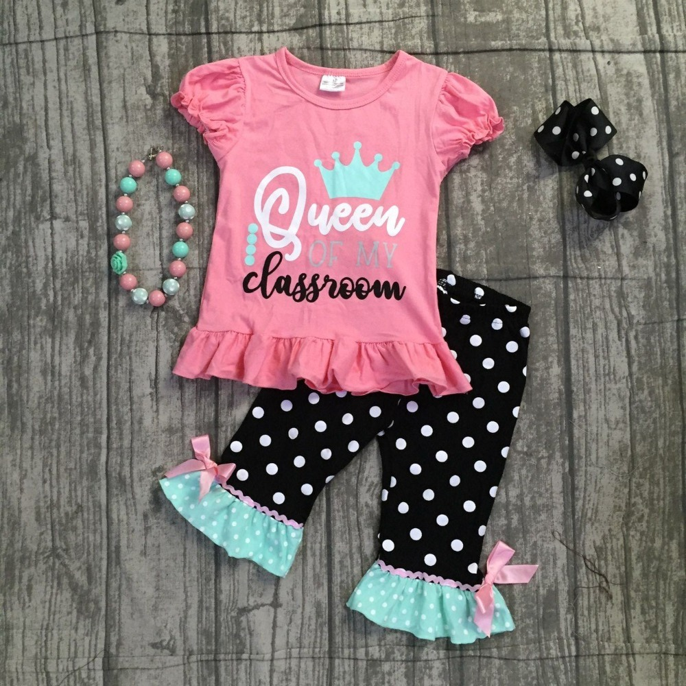 new baby girls queen of my classroom boutique coral capris outfits clothes back to school cotton raglans crown match accessories