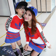 2016 Fashion Cotton Mom And Daughter Dress Striped Full Family Matching Outfits Girls Clothes Autumn Dresses For Ladies