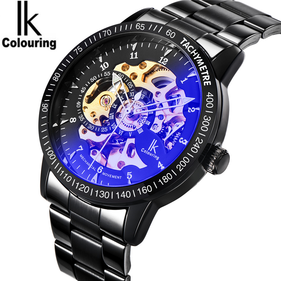 цена на 2017 Luxury IK Coloring Casual Men's Skeleton Dial Roman Number Auto Mechanical Wristwatch with Box Free Ship