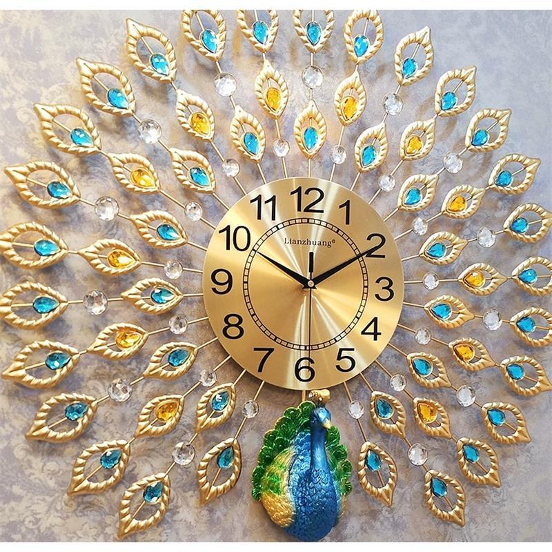 Modern Design Peacock Wall Clock Home Decor Wall Watch Living Room And Bedroom Silent Clock Wall Large Metal Digital Wall Clocks