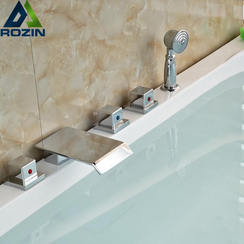 Polished Chrome 5pcs Deck Mount Waterfall Spout Bathtub Faucet Set Three Handles Tub Filler bright chrome bathtub faucet three handles with handshower tub filler spout wall mounted shower faucets
