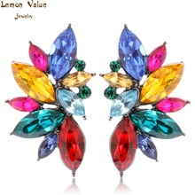 Lemon Value Bijoux Fashion Charm Candy Color Crystal Rhinestone Long Stud Earrings Women Jewelry Femme Brincos Pendientes H013