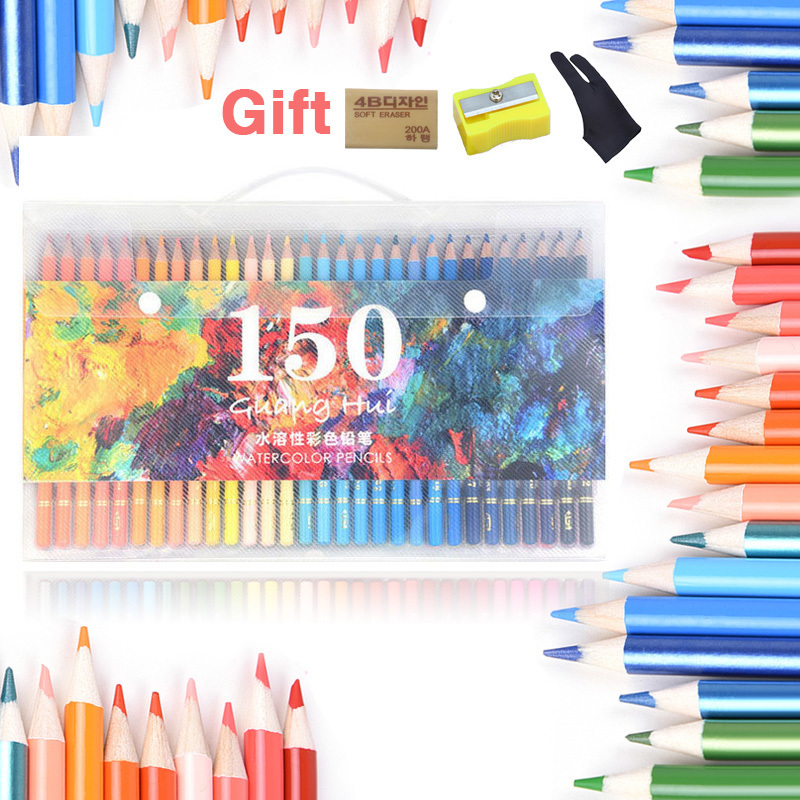 150 Colors Soluble Water color pencil set Sketch watercolor pencils Wood prismacolor Lapis de cor for school Art Supplies 24 36 colors watercolor pencils lapis de cor professional lapis escolar school paint water soluble color hydrotropic carton