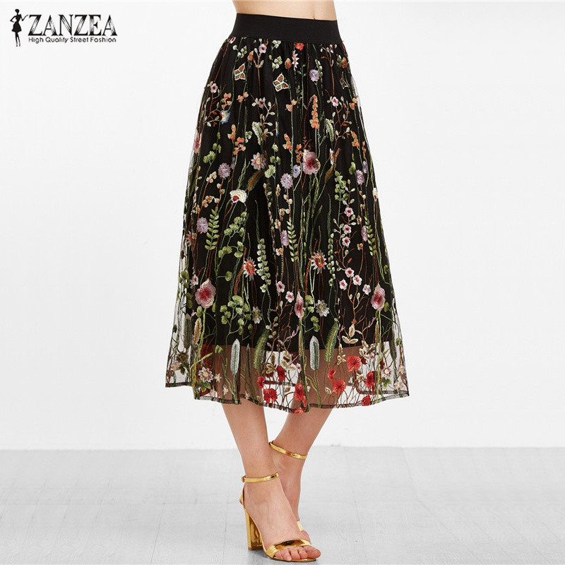 ZANZEA Women Fashion Summer Bohemian Vintage Long Skirts Elegant Black Floral Embroidered Mesh Overlay A Line Ladies Midi Skirt
