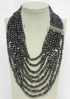 FREE SHIPPING>>>@@ > DFFG78 AAA Beauty Hot sale &>>>>>17 24 8row baroque Black pearls necklace 925 silver clasp