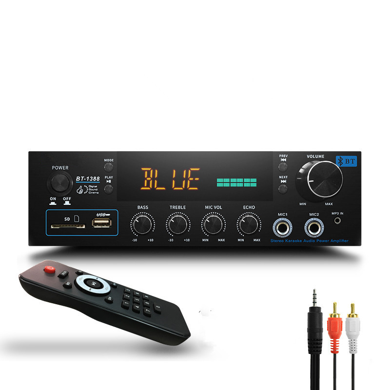 FM radio U disk SD card microphone reverb 220V 200W+200W 2.0 remote control builtin 4.0 Bluetooth hifi home AV digital amplifier iwistao finished tube fm stereo radio tuner whole aluminum chassis gold support bluetooth 4 0 sd card u hifi audio 110v 220v