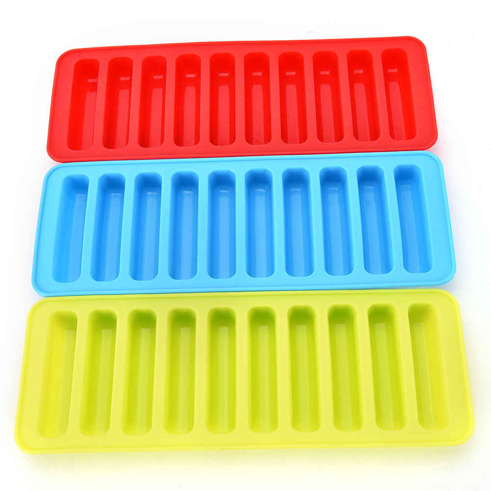 Reusable Cylinder 10 Silicone Ice Cube Tray Mold Freeze Ice Mould For Water Bottle Pudding Jelly Chocolate Cookies Mold Maker