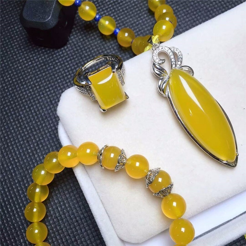 Здесь продается  Koraba Fine Jewelry  925 Silver Inlaid Natural Chalcedony Yellow Pendant Necklace Ring Bracelet Set Gifts Free Shipping  Ювелирные изделия и часы