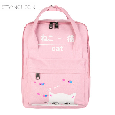Backpack Women Canvas Character Printing Rucksack Teenage Girls Preppy Style Satchel Sac Shoulder Bags Bolsas Mochilas