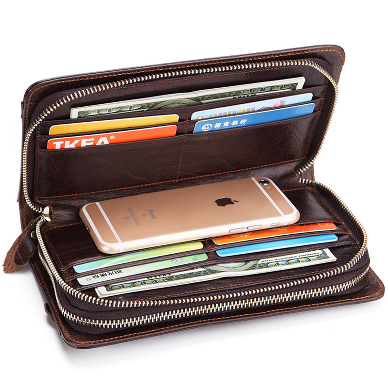 Men's Large Business Clutch Wallet Men Genuine Leather Clutch Bag Purse Long Design Zipper Male Casual Money Bag For Phone